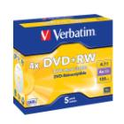 DVD médium Verbatim DVD+RW 4,7GB 5 ks DVD médium, DVD+RW, 4,7GB, 4x, Jewel, 5-pack