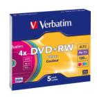 DVD médium Verbatim DVD+RW 4,7 GB 5 ks DVD médium, DVD+RW, 4,7 GB, 4x, COLOR slim, 5 pack