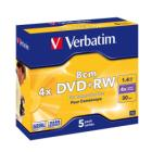 DVD médium Verbatim DVD+RW 1,46 GB 5 ks DVD médium, DVD+RW, 1,46 GB, 8 cm, 4x, jewel, 5 pack