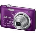 Digitální fotoaparát Nikon Coolpix A100 fialový Digitální fotoaparát, kompaktní, 20,1 MPx, 5x zoom, fialový s bílým vzorem