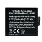 Baterie Rollei pro videokamery ActionCam 900 mAh Baterie, pro videokameru, 3.7V, 900mAh, Li-Ion, pro ActionCam 220, 300, 310, 330, 333, 300 Plus, 350, 415
