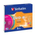 DVD médium Verbatim Slim DVD-R 4,7GB 5 ks DVD médium, DVD-R, 4,7GB, 16x, slim colour, 5-pack
