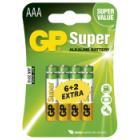 GP alkalická baterie 1,5V AAA (LR03) Super 8ks blistr (6+2ks ZDARMA)