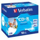 CD médium Verbatim CD-R80 700MB 10ks CD médium, 700MB, DLP, 52x, printable, jewel, 10pack