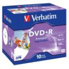 DVD médium Verbatim DVD+R 4,7GB 10 ks DVD médium, DVD+R, 4,7GB, 16x, potisknutelné, jewel, 10-pack