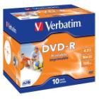 DVD médium Verbatim DVD-R 4,7GB, printable, 10 ks DVD médium, DVD-R, 4,7GB, 16x, potisknutelné, jewel, 10-pack