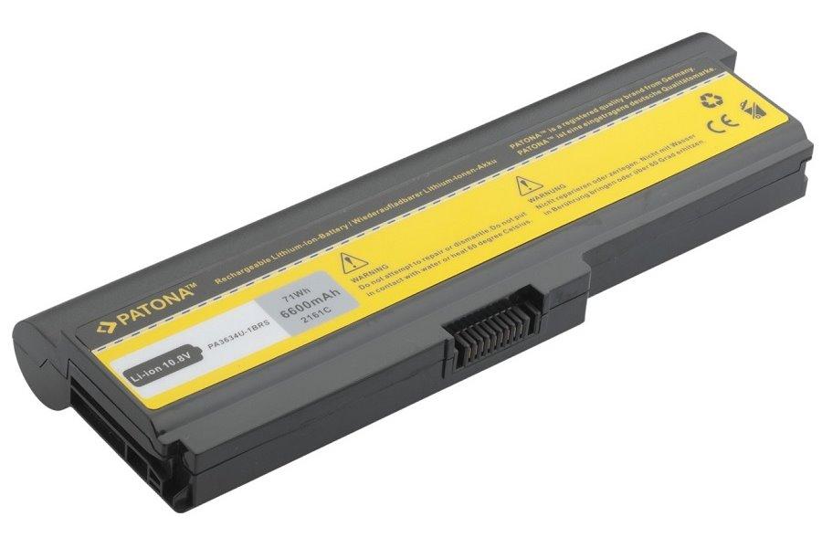Baterie PATONA pro TOSHIBA 6600 mAh Baterie, 6600 mAh, pro notebooky TOSHIBA Satellite L, M, U, Pro, Equium U, Protege M, neoriginální PT2161
