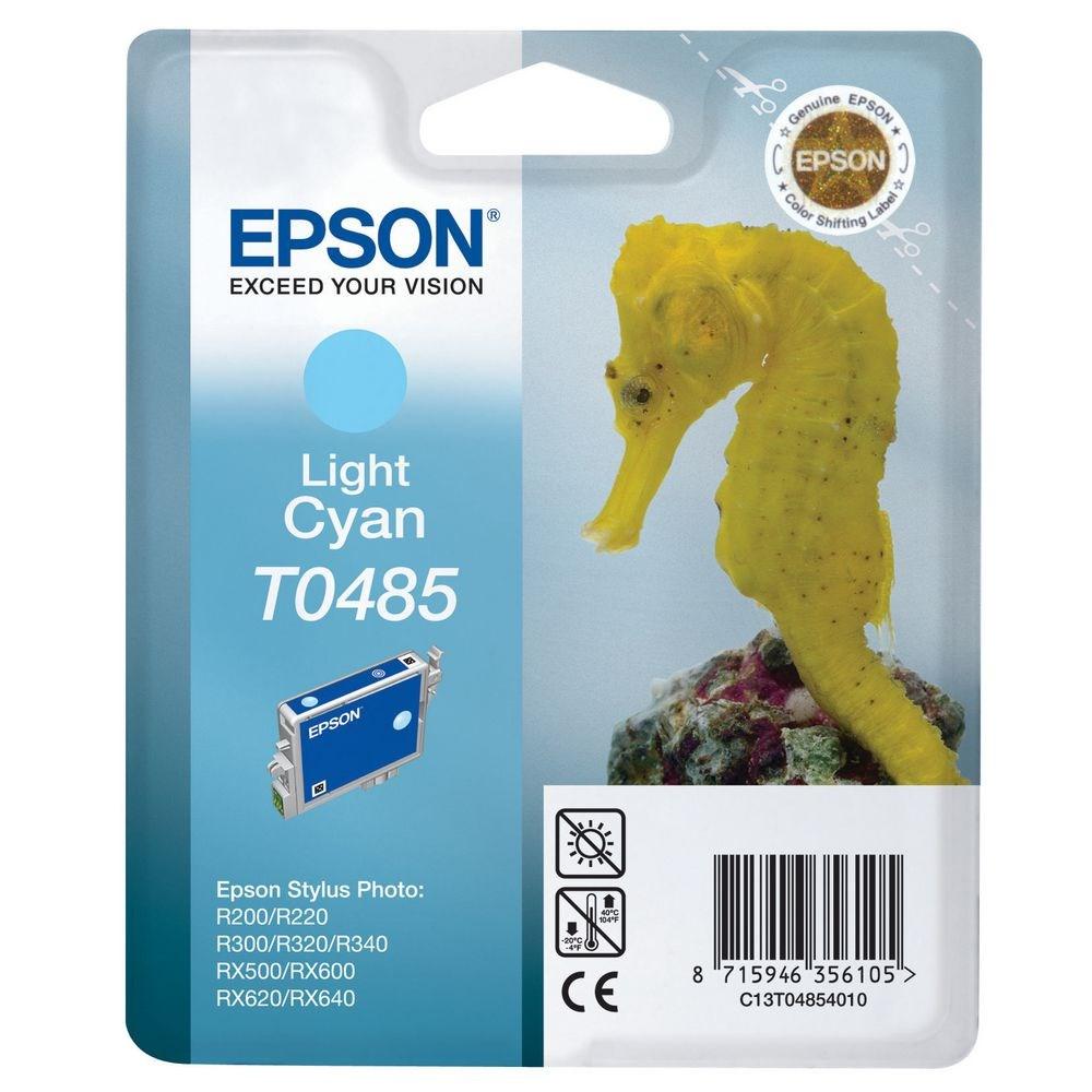 Inkoustová náplň Epson T0485 světlá modrá Inkoustová náplň, originální, pro Epson Stylus R200, R220, R300, R320, R340, RX500, RX600, RX620, RX640, světlá modrá C13T04854010
