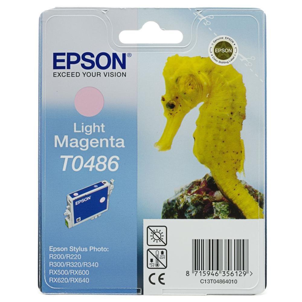 Inkoustová náplň Epson T0486 světlá purpurová Inkoustová náplň, originální, pro Epson Stylus R200, R220, R300, R320, R340, RX500, RX600, RX620, RX640, světlá purpurová C13T04864010