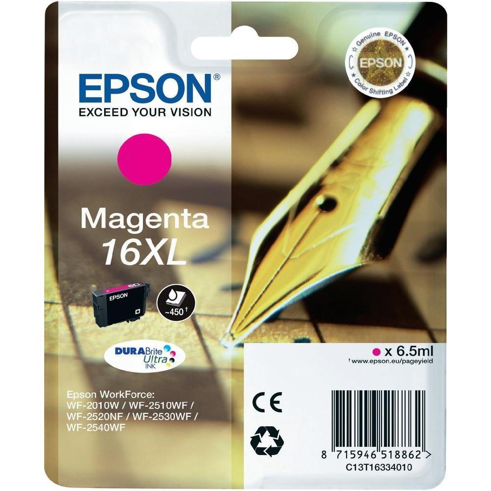 Inkoustová náplň Epson 16XL purpurová Inkoustová náplň, originální, pro Epson WorkForce WF-2010W, 2510WF, 2520NF, 2530WF, 2540WF, purpurová C13T16334010