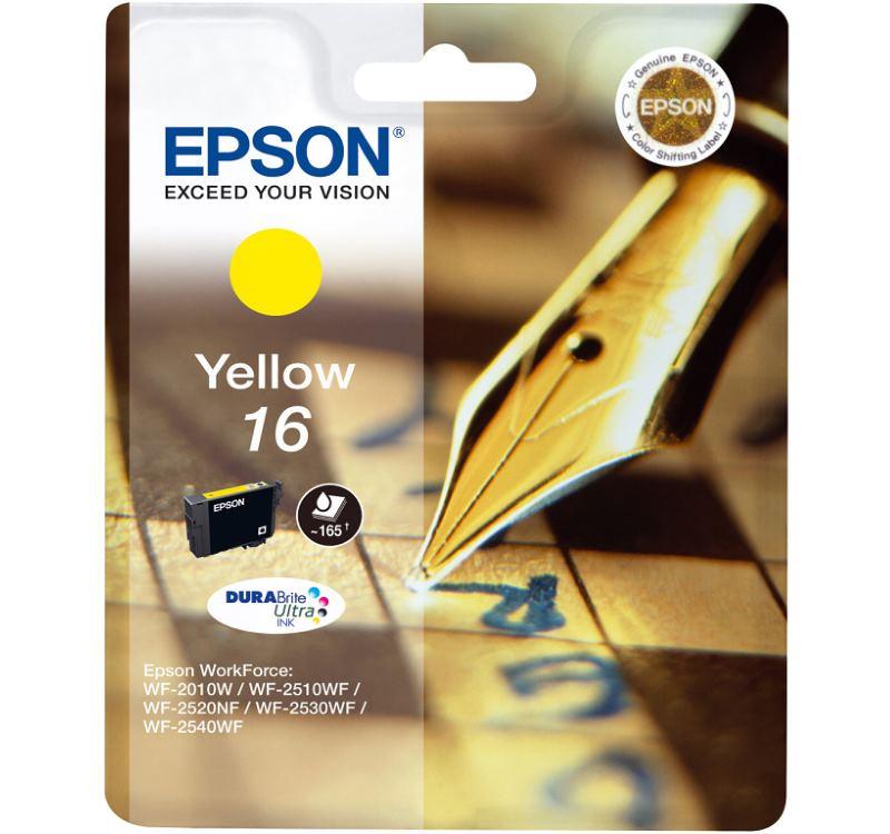 Inkoustová náplň Epson 16 žlutá Inkoustová náplň, originální, pro Epson WorkForce WF-2010W, 2510WF, 2520NF, 2530WF, 2540WF, žlutá C13T16244010