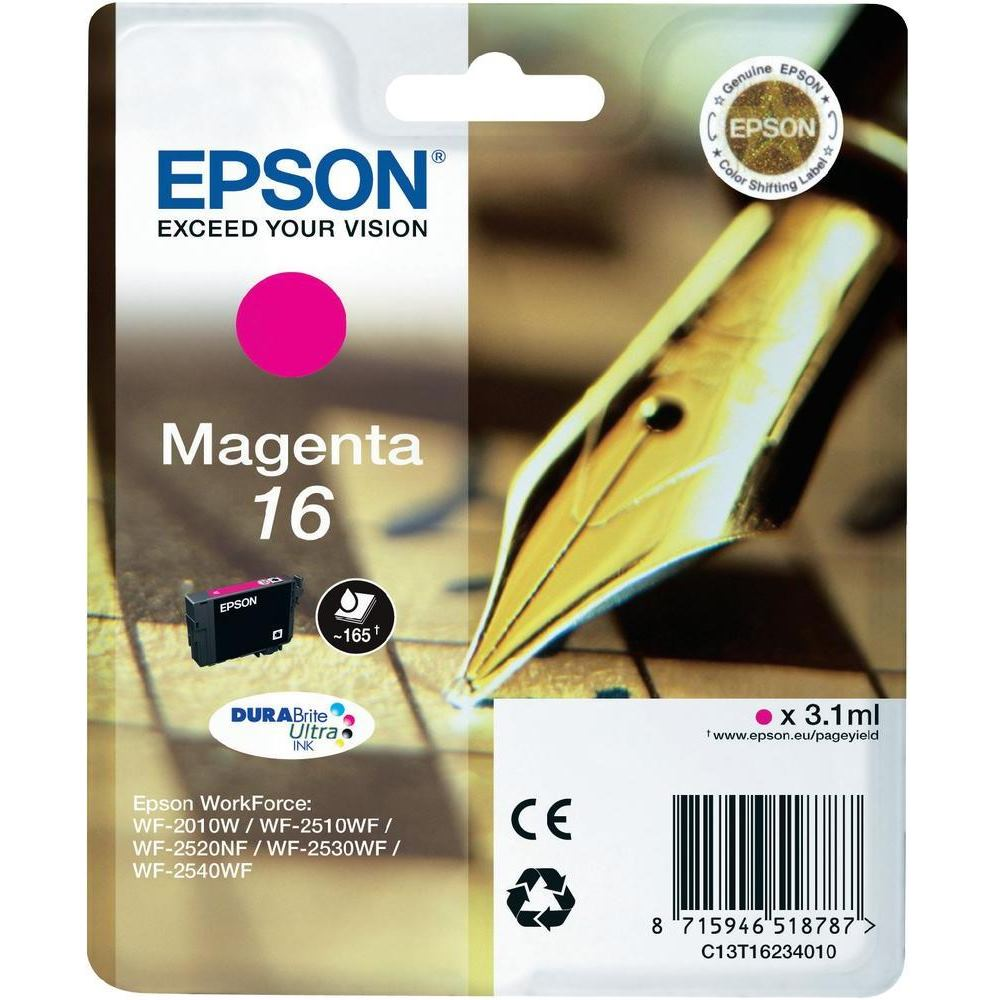 Inkoustová náplň Epson 16 purpurová Inkoustová náplň, originální, pro Epson WorkForce WF-2010W, 2510WF, 2520NF, 2530WF, 2540WF, purpurová C13T16234010