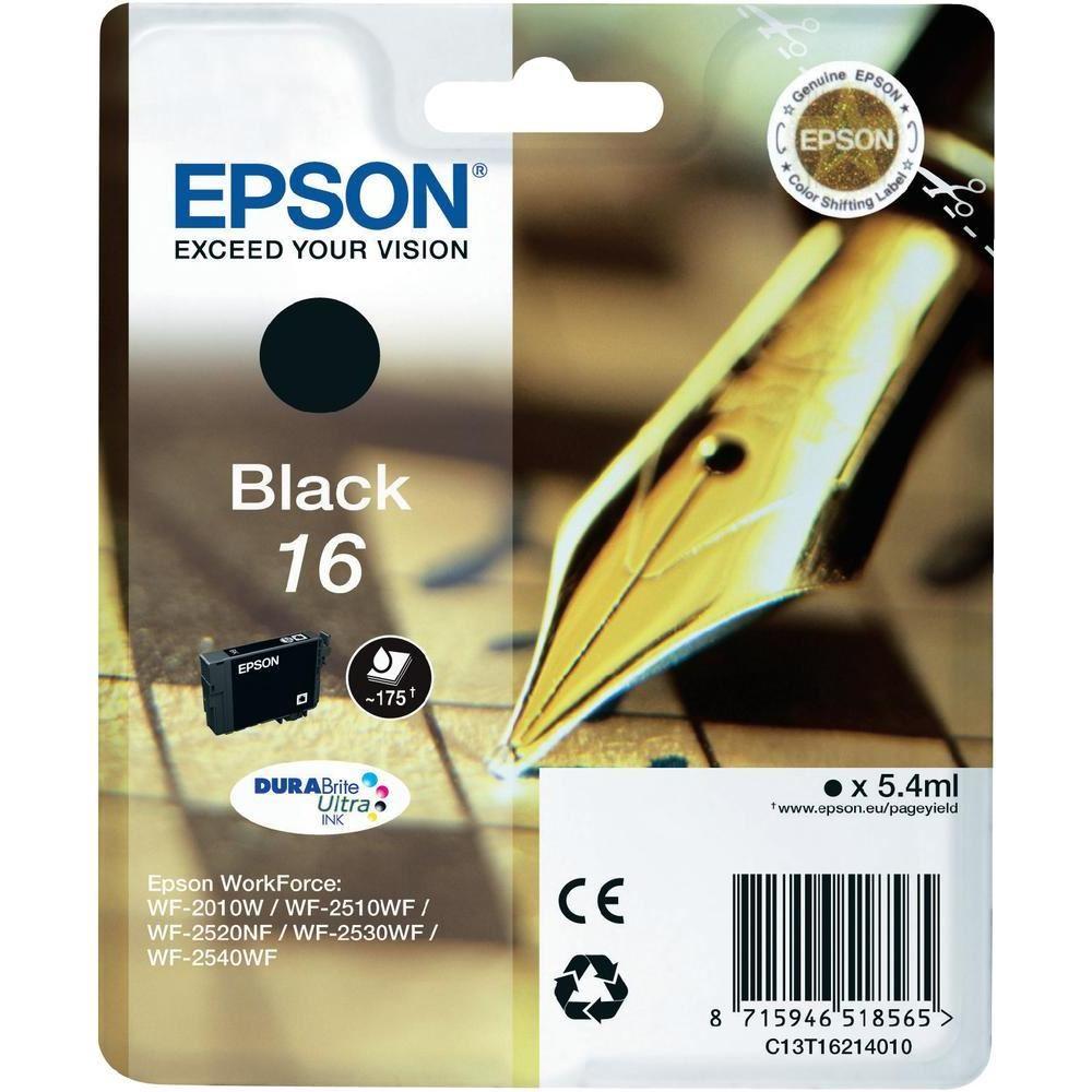 Inkoustová náplň Epson 16 černá Inkoustová náplň, originální, pro Epson WorkForce WF-2010W, 2510WF, 2520NF, 2530WF, 2540WF, černá C13T16214010