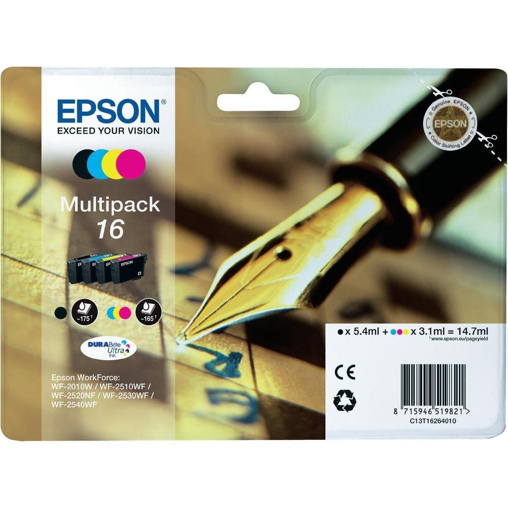 Inkoustová náplň Epson 16 multipack Inkoustová náplň, originální, multipack, pro Epson WorkForce WF-2010W, 2510WF, 2520NF, 2530WF, 2540WF, 4 barvy C13T16264010