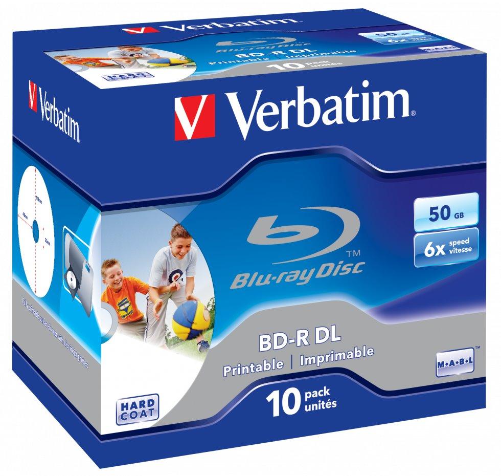 Blu-Ray medium VERBATIM BD-R DL 50GB 10 ks Blu-Ray médium, DL 50GB, 6x, Wide Printable, Jewel, 10ks 43736