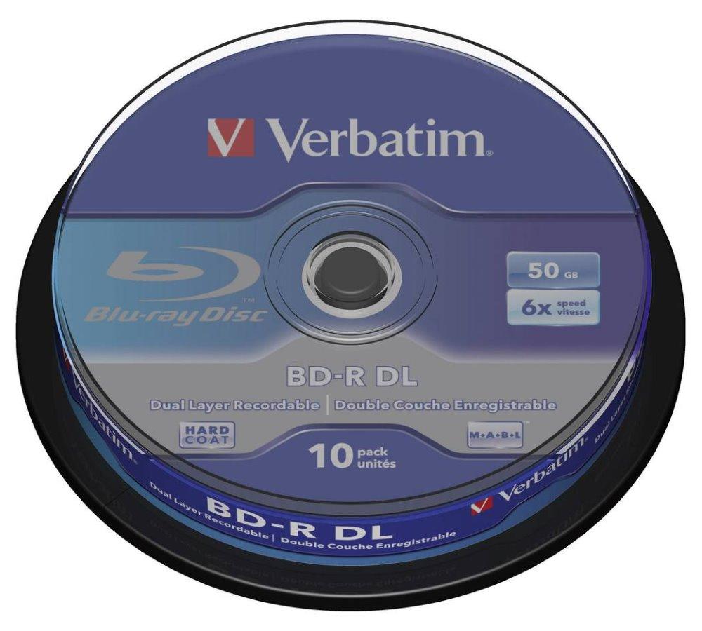 Blu-Ray médium VERBATIM BD-R DL 50GB 10 ks Blu-Ray médium, 50GB, 6x, 10ks, spindle 43746