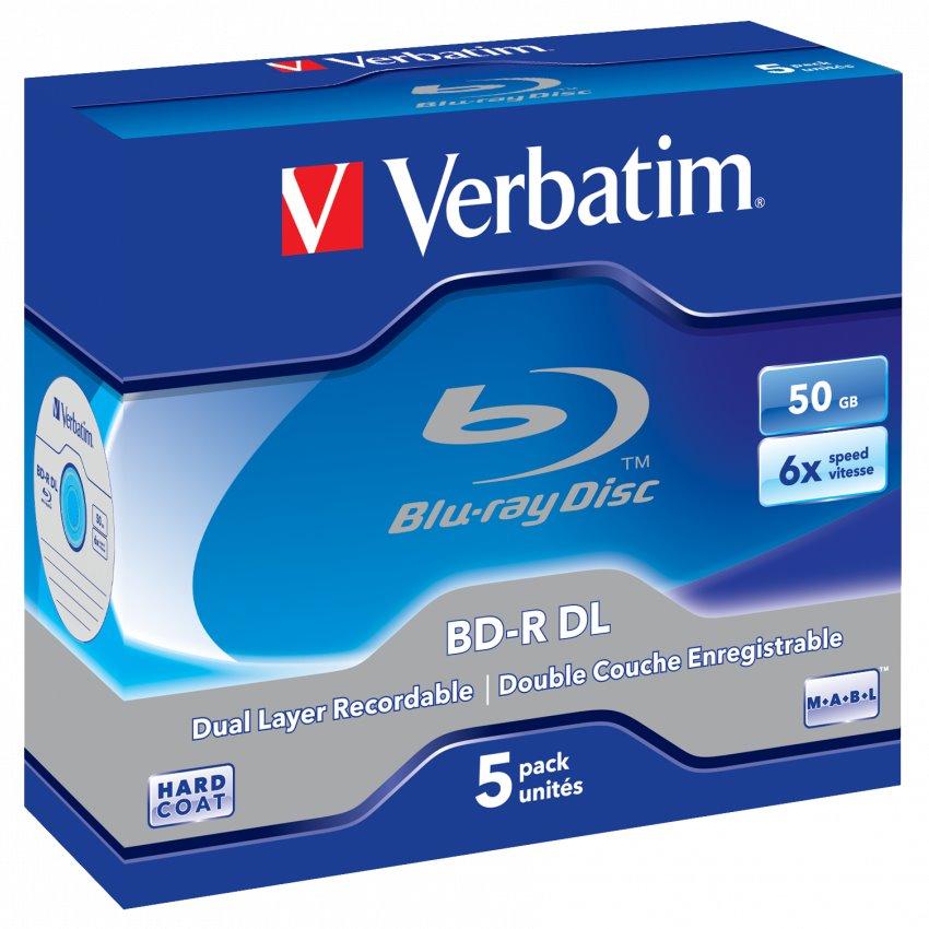 Blu-Ray médium VERBATIM BD-R DL 50GB 5 ks Blu-Ray médium, 50GB, 6x, 5ks, Jewel 43748