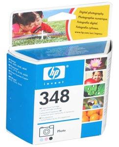 Inkoustová náplň HP 348 3 barvy Inkoustová náplň, originální, pro HP DeskJet 5740, 6840, 6540, 6520, PhotoSmart 8450, 8150, 2710, 2610, OfficeJet 7410, 7310, 6210, tříbarevná C9369EE