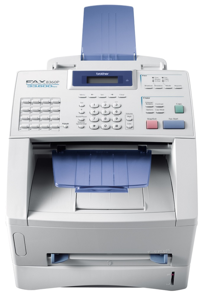 Fax Brother 8360P Fax, laserový, 600x300 dpi, 8MB, ADF, kopírka, FAX, bílý FAX8360PZK1