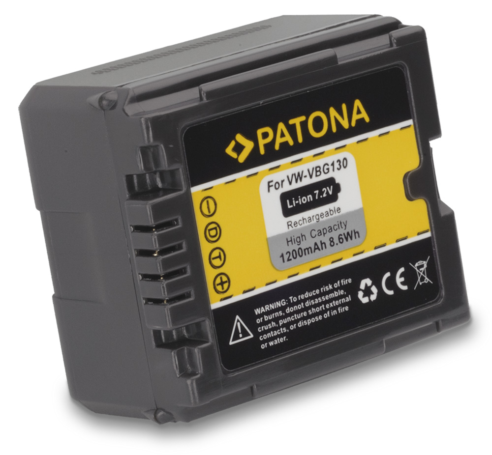 Baterie PATONA kompatibilní s Panasonic VW-VBG130 Baterie, pro videokameru, 1200mAh, 7,2V, Li-Ion PT1151