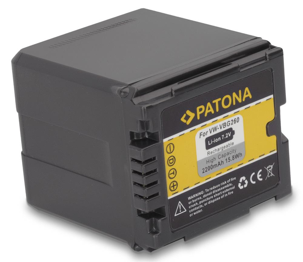 Baterie PATONA kompatibilní s Panasonic VW-VBG260 Baterie, pro videokameru, 2200mAh, 7,2V, Li-Ion PT1152