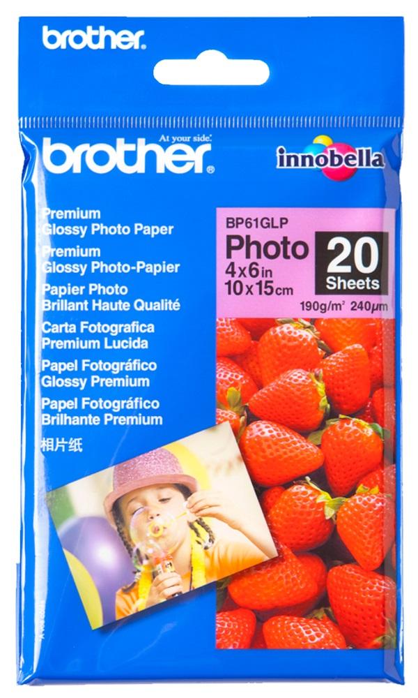 Fotopapír BROTHER BP61GLP Fotopapír, 20 listů, 10x15cm, glossy, 190g BP61GLP