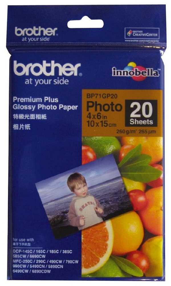 Fotopapír BROTHER BP71GP20 Fotopapír, 20 listů, 10x15cm, Premium Glossy, 260g BP71GP20