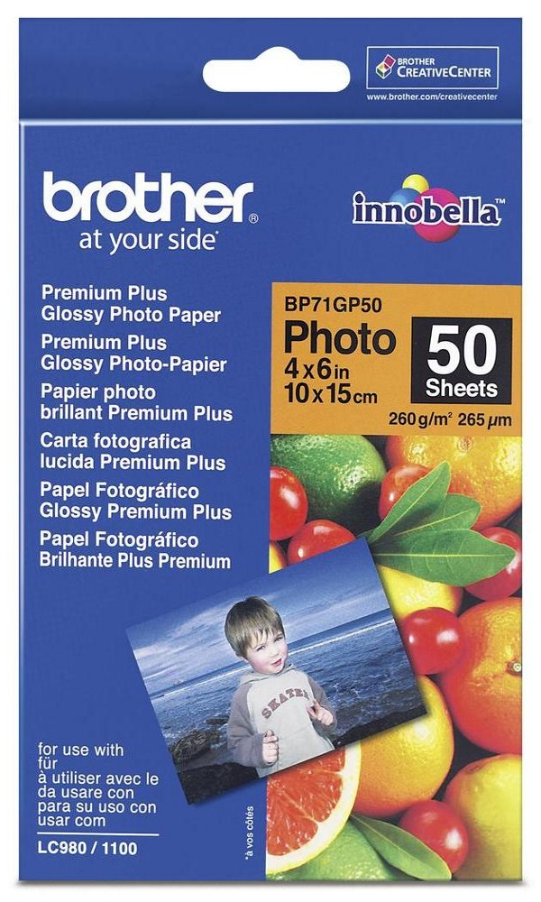 Fotopapír BROTHER BP71GP50 Fotopapír, 50 listů, 10x15cm, Premium Glossy, 260g BP71GP50
