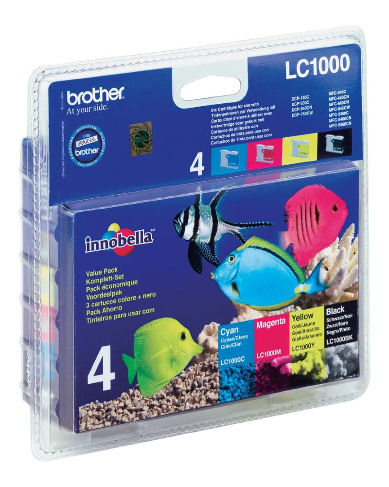 BROTHER inkoustová náplň LC-1000 VALBP/ multipack/ Černá + tři barvy