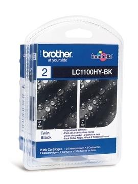 Inkoustová náplň Brother LC-1100HY BKBP2 Inkoustová náplň, originální, pro Brother DCP-6690CW, MFC-5890CN, MFC-5895CW, MFC-6490CW, MFC-6890CDW, 2x900 stran, černá LC1100HYBKBP2