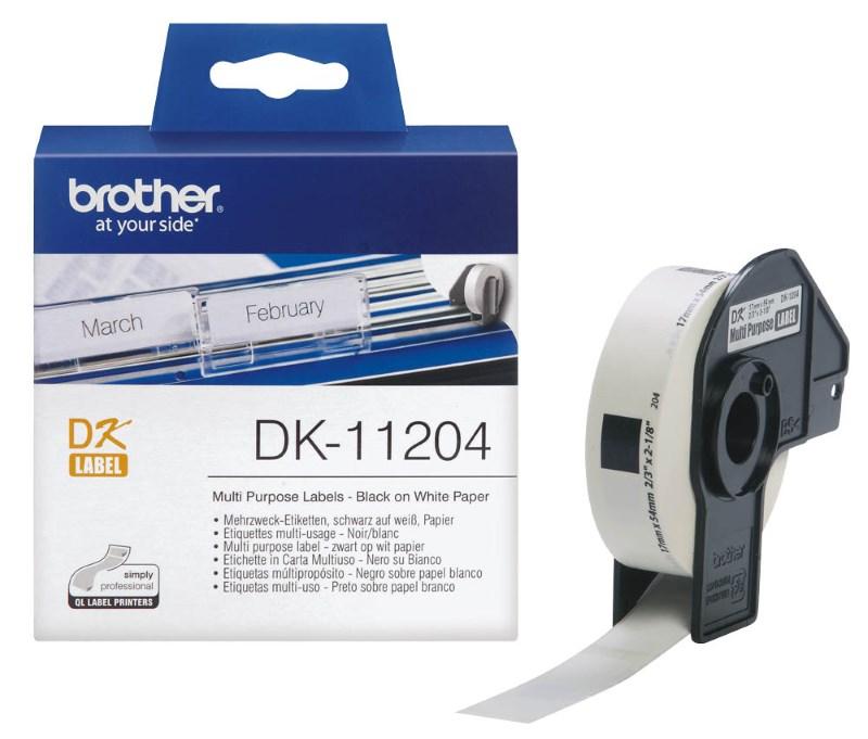 Páska Brother DK-11204 Páska, papírové štítky, univerzální štítek, 400ks, 17 x 54 mm