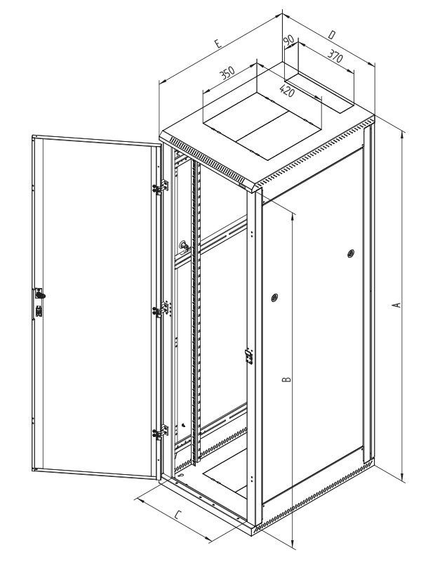Rozvaděč Triton RMA 19 15U 600 x 800 Rozvaděč, stojanový, 19, 15U, 600x800, plechové perforované dveře RMA-15-L68-CAX-A1