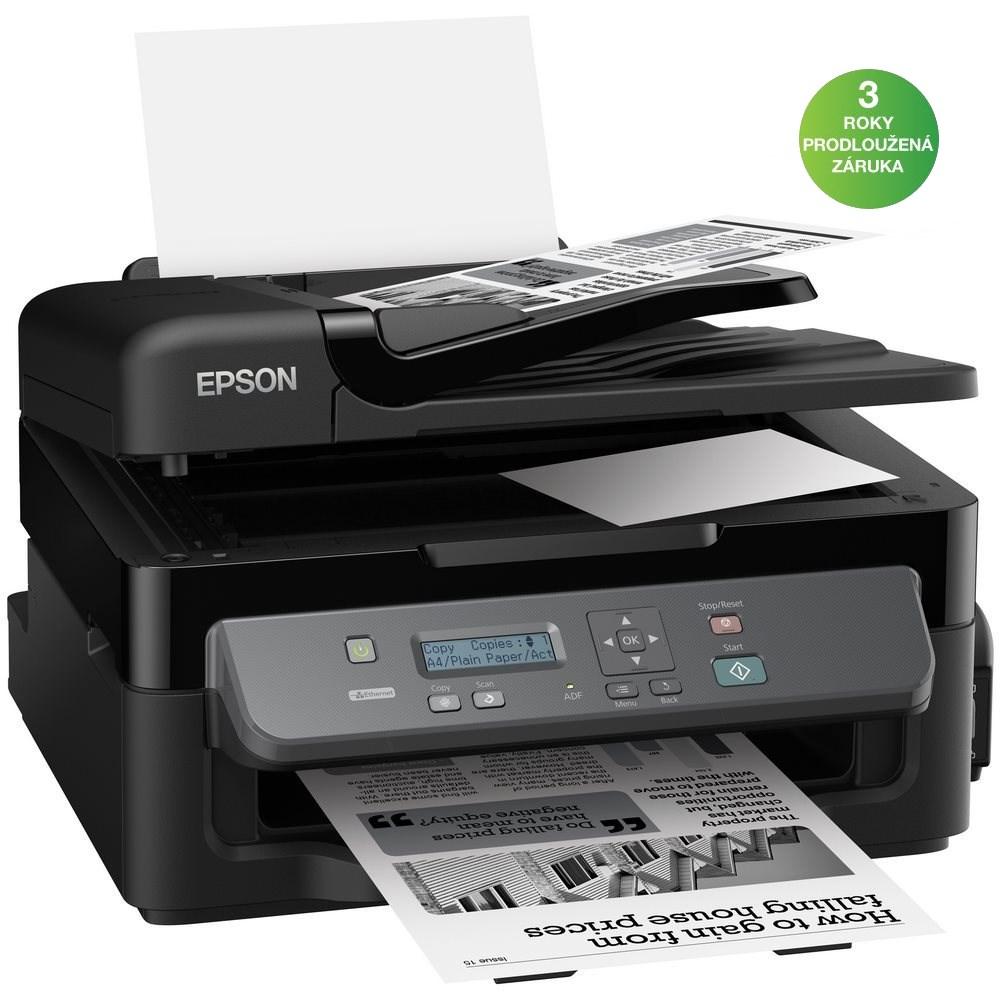 Multifunkční tiskárna Epson WorkForce M200 Černobílá multifunkční inkoustová tiskárna, A4, 34ppm, 1440x720dpi, MFZ, ADF, LAN, USB2.0 C11CC83301
