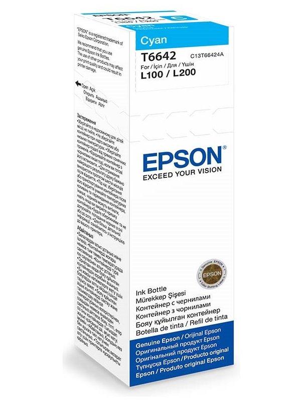 Cartridge inkoustová náplň Epson , C13T66424A, L100, L200, 70ml, Modrá C13T66424A