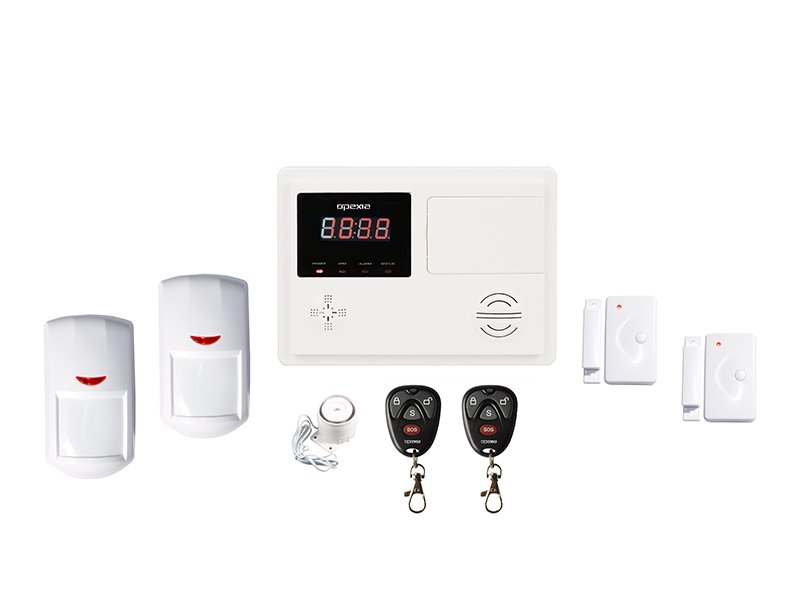 Zabezpečovací systém OPEXIA OP-P120 Zabezpečovací systém, bezdrátový, PSTN, 120 zón, 2x PIR, 2x MK, 2x DO, siréna OP-P120