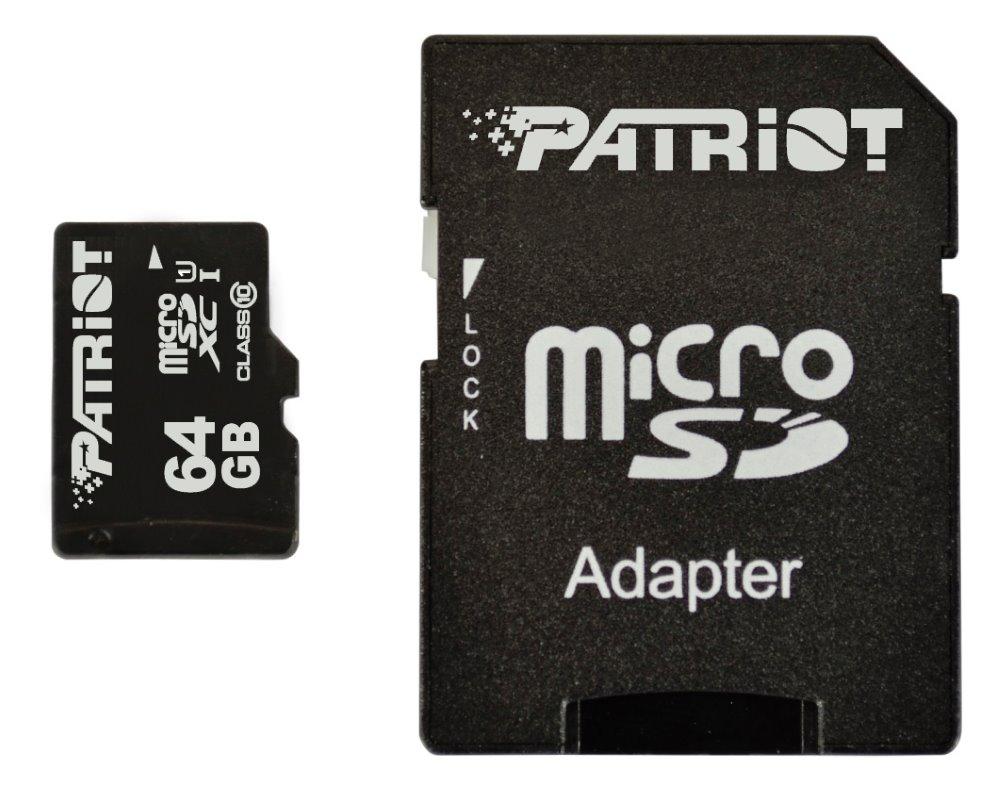 Paměťová karta Patriot Micro SDHC 64 GB Paměťová karta, 64 GB, Micro SDHC, třída 10, + SD adaptér PSF64GMCSDXC10