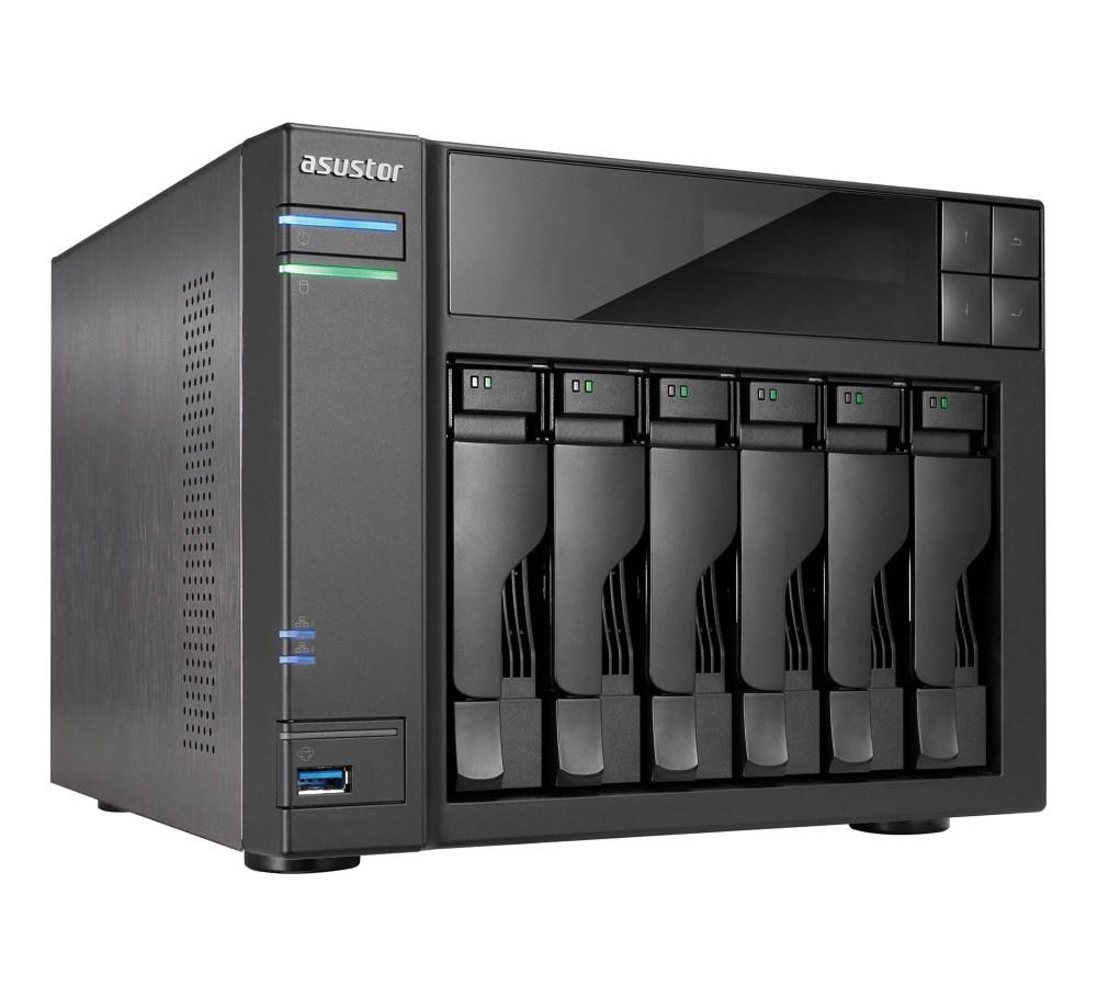 Síťové úložiště NAS Asustor AS-606T Síťové úložiště NAS, 6-bay NAS server, media station, Dual Core Atom 2,13GHz, 1GB DDR3, 2xUSB 3.0, 4xUSB 2.0, HDMI výstup AS606T