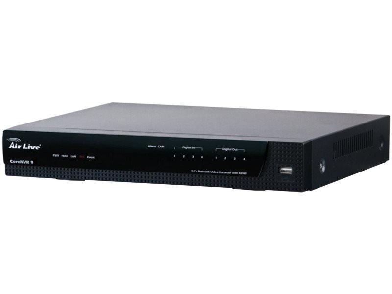 Záznamové zařízení AirLive CoreNVR9 Záznamové zařízení, max.9 kamer, ARM Cortec A9, VGA, HDMI, ONVIF, 2x SATA, 1x GLAN CoreNVR9
