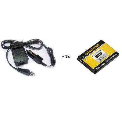 Nabíječka PATONA + 2 x baterie Samsung SLB10A Nabíječka, pro fotoaparát, 2x baterie, 750 mAh PT1581B