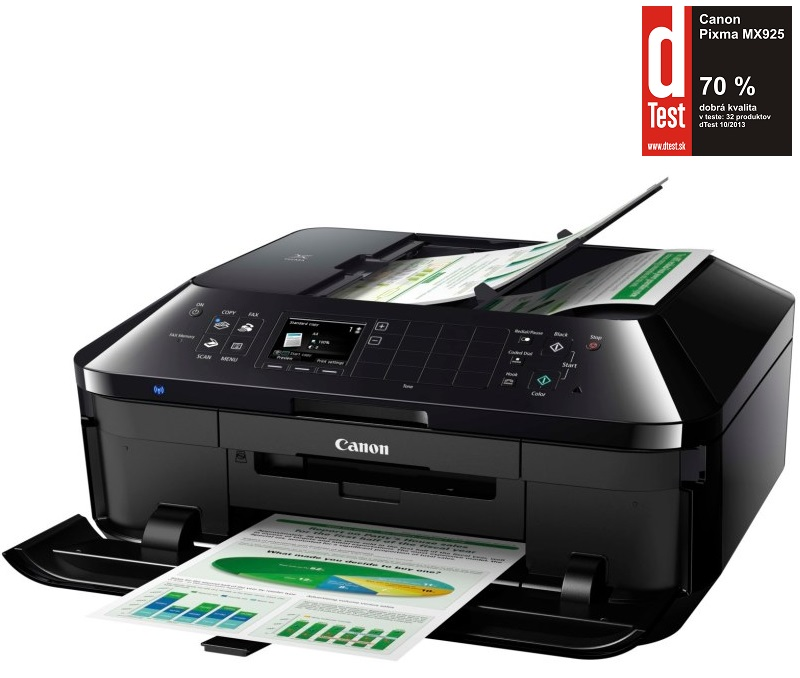 Multifunkční tiskárna Canon PIXMA MX925 Barevná multifunkční inkoustová tiskárna, A4, 4800x2400, 3 LCD, DADF, Fax, Duplex, Wi-Fi, USB 6992B009