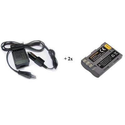 Nabíječka PATONA + 2 x baterie Nikon ENEL3e Nabíječka, pro fotoaparát, 2x baterie, 1300 mAh PT1626B