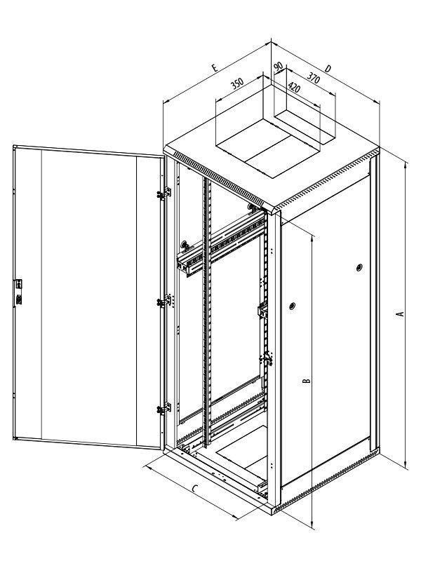 Stojanový rozvaděč Triton RMA-42-L89-CAX-A1 Stojanový rozvaděč, 42U, 800x900, plechové perforované dveře RMA-42-L89-CAX-A1