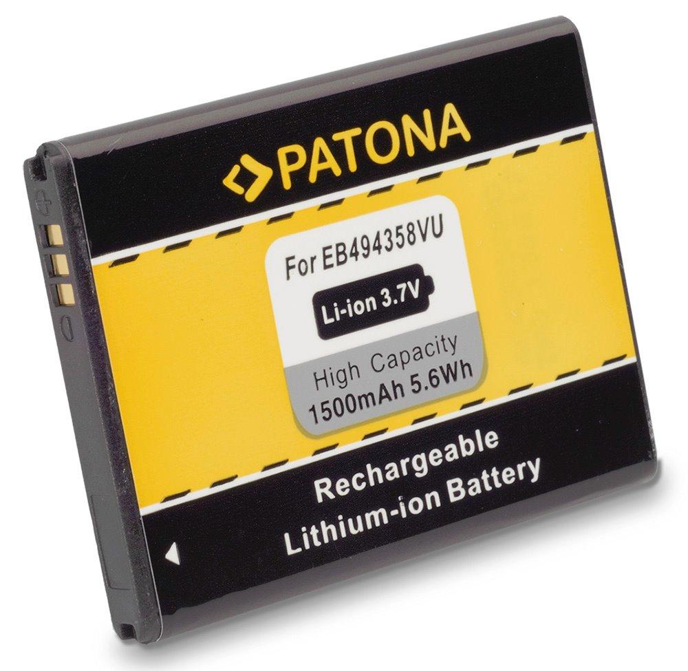 Baterie PATONA kompatibilní s Samsung EB-494358VU Baterie, pro mobilní telefon, EB-494358VU, 1500mAh, 3.7V, Li-Ion, Samsung CC, I569, I579, S5660, S5660 Galaxy Gio, S5670, S5670 Galaxy Fit, S5830 Gala PT3006