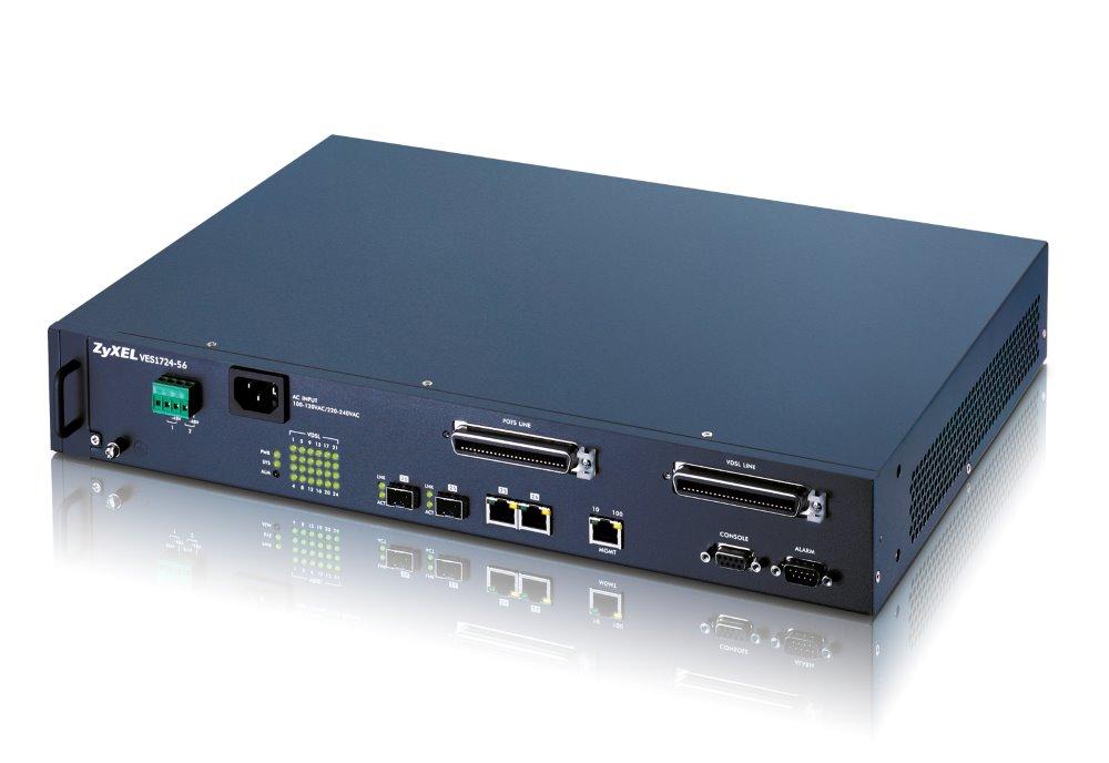 Switch ZyXEL VES1724-56 Switch, 24-port, 100 Mbps / 100 Mbps po telefoní lince, AC vstup, Annex A, Slave device P-870HN-51b VES1724-56-EU01V1F