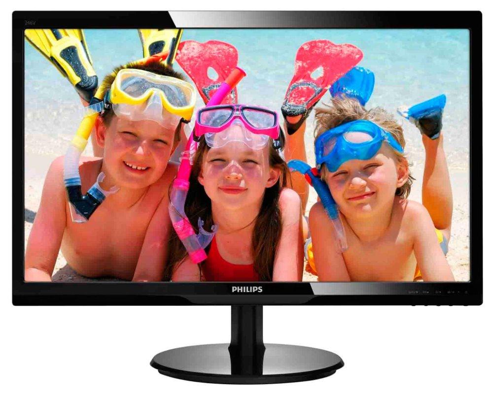 LED monitor PHILIPS 246V5LSB 24 LED monitor, 16:9 1920x1080, 10.000.000:1, 5ms, D-SUB, DVI, černý 246V5LSB/00