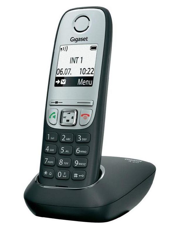 Bezdrátový telefon SIEMENS GIGASET A415 černý Bezdrátový telefon, DECT/GAP bezdrátový, černý GIGASET-A415