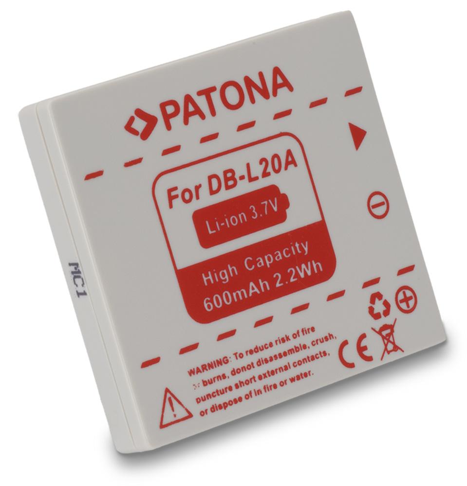 Baterie PATONA kompatibilní s Sanyo DB L20 Baterie, pro fotoaparát, 600mAh, Li-Ion PT1184