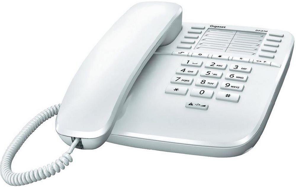Standardní telefon SIEMENS GIGASET DA510 bílý Standartní telefon, bez displeje, bílý GIGASET-DA510-WHITE