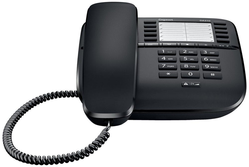 Standardní telefon SIEMENS GIGASET DA510 černý Standartní telefon, bez displeje, černý GIGASET-DA510-BLACK