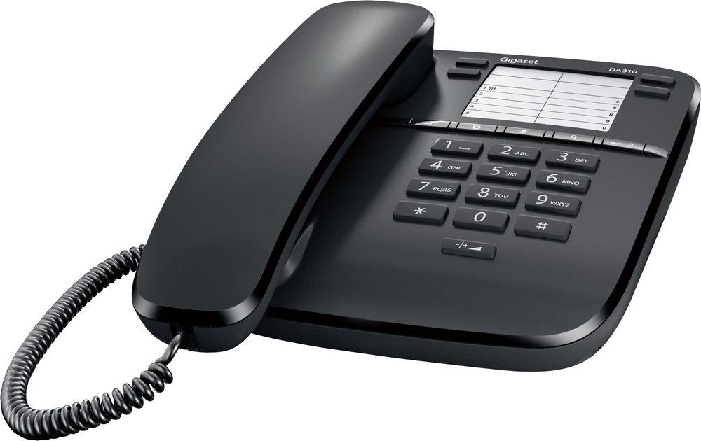 Standardní telefon SIEMENS GIGASET DA310 černý Standartní telefon, bez displeje, černý GIGASET-DA310-BLACK